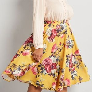 Modcloth Ikebana for All Floral A-Line Skirt 2X